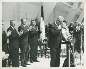 """Coach Charles """"Red"""" Silvia giving a speech , 1967"""