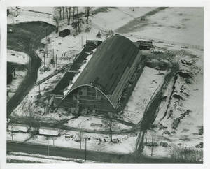 Aerial view of the Linkletter Natatorium under construction, 1967
