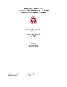 Finding Aid: Weiser Hall Records
