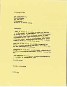 Letter from Mark H. McCormack to Owen Williams