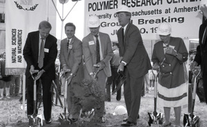 Ceremonial groundbreaking: group including Gov. William Weld (second from right) flanked by Gordon Oakes and Corinne Conte