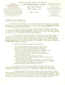 Circular letter from Anson Phelps Stokes to Members of the committee on Africa, the war, and peace aims