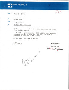 Memorandum from Judy A. Chilcote to Betsy Goff