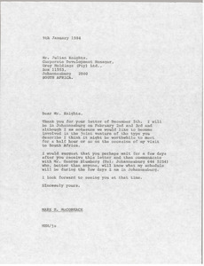 Letter from Mark H. McCormack to Julian Knights