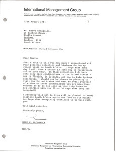 Letter from Mark H. McCormack to Maeve Changuion