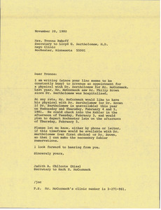 Letter from Judy Chilcote to Yvonne Ruhoff