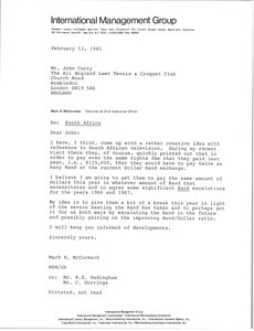 Letter from Mark H. McCormack to John Curry
