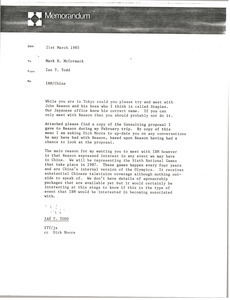 Memorandum from Ian T. Todd to Mark H. McCormack