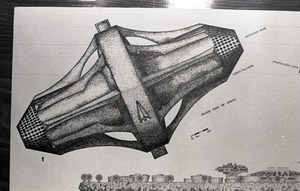 "Architectural sketch of ""Asteromo"" by Paolo Soleri"