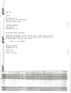 Telex prinotut from Mark H. McCormack to Philippe Chatrier