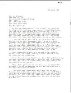 Letter from Kerry Corcoran to Mark H. McCormack.