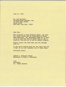 Letter from Judy A. Chilcote to Kay Mitchell