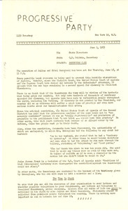 Circular letter from Progressive Party to W. E. B. Du Bois