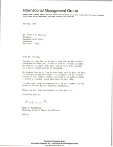 Letter from Mark H. McCormack to Thomas B. Heaney