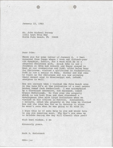 Letter from Mark H. McCormack to John Michael Dorsey
