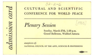 Admission card to Cultural and Scientific Conference plenary session
