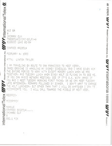 Telex prinotut from Mark H. McCormack to Lynotn Taylor