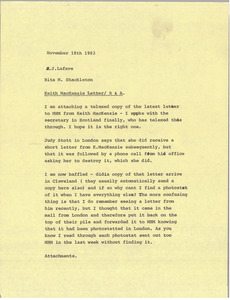 Memorandum from Rita M. Shackleton to J. Lafave