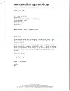 Letter from Mark H. McCormack to Brian R. Tobin