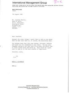 Letter from Mark H. McCormack to Jonathan Martin