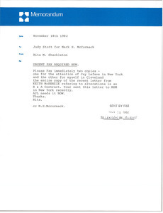 Memorandum from Rita M. Shackleton to Mark H. McCormack