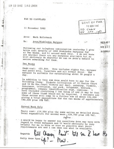 Fax from Ally Anne Egan to Mark H. McCormack