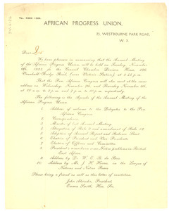 Circular letter from the African Progress Union