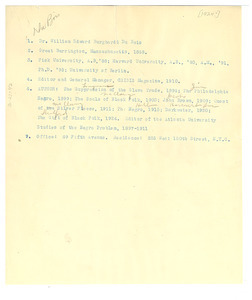 Abbreviated CV and contact info for W. E. B. Du Bois