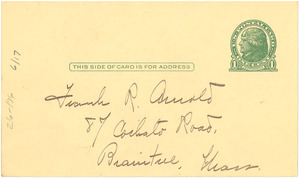 Blank postcard to Frank R. Arnold