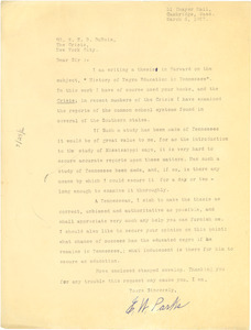 Letter from E. W. Parks to W. E. B. Du Bois