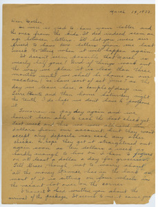 Letter from Katherine Irey to Sarah Kessel