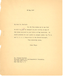Letter from Ellen Irene Diggs to National Council of American-Soviet Friendship