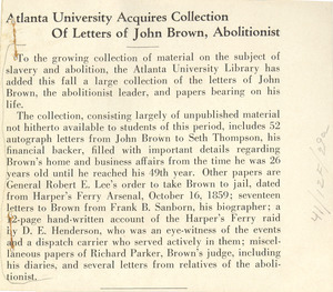 Atlanta University acquires collection of letters of John Brown, abolitionist