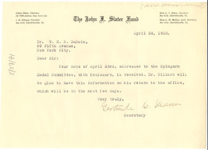 Letter from Gertrude C. Mann to W. E. B. Du Bois