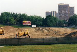 Garber Field astroturf installation project. The Southwest Dormitory Complex can be seen in the background