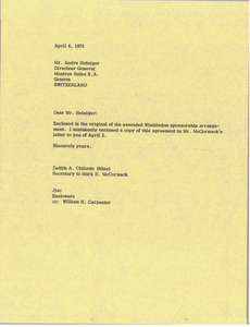 Letter from Judy A. Chilcote to Andre Heiniger