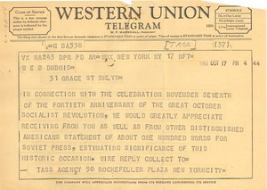Telegram from Tass Agency to W. E. B. Du Bois