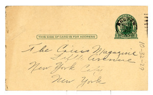 Postcards from Wilhelmina Crosson to the Crisis