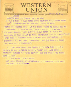 Telegram from National Council of American-Soviet Friendship to W. E. B. Du Bois