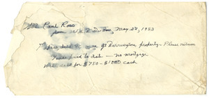 Envelope from W. E. B. Du Bois to Paul Ross