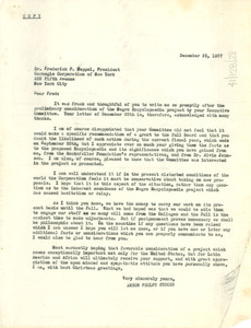 Letter from Anson Phelps Stokes to Carnegie Corporation
