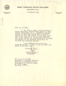 Letter from West Virginia State College to W. E. B. Du Bois