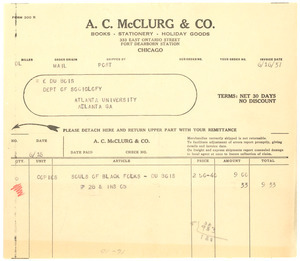 Invoice from A. C. McClurg & Co. to W. E. B. Du Bois