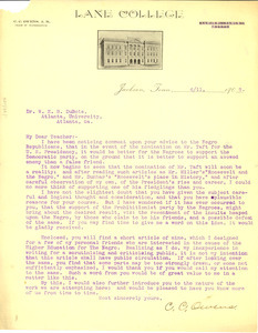 Letter from C. C. Owens to W. E. B. Du Bois