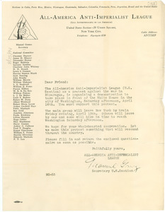 Circular letter from the All-America Anti-Imperialist League to W. E. B. Du Bois