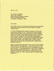 Letter from Mark H. McCormack to Frank Gard Jamison