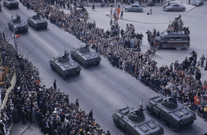 Army tanks in Belgrade parade