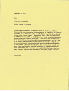 Memorandum from Mark H. McCormack to Arnold Palmer Allstate file