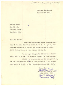 Letter from Community Unitarian Fellowship Forum to W. E. B. Du Bois
