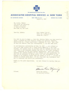 Letter from Associated Hospital Service of New York to W. E. B. Du Bois